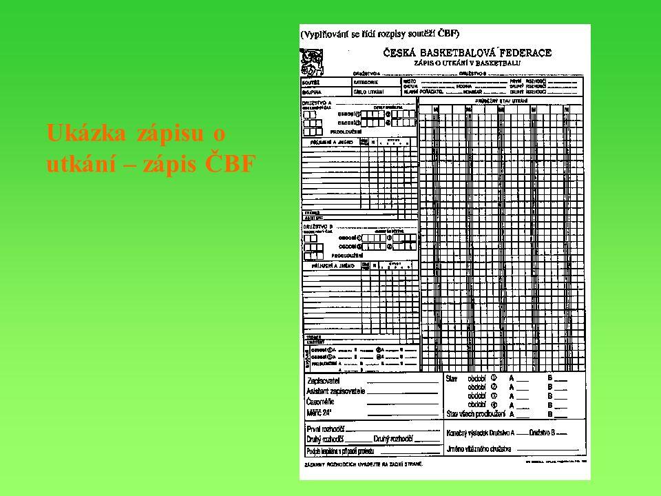 Ukázka zápisu o utkání – zápis ČBF