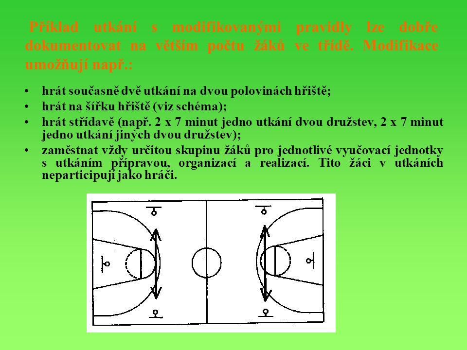 Příklad utkání s modifikovanými pravidly lze dobře dokumentovat na větším počtu žáků ve třídě.