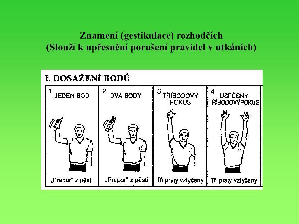 Znamení (gestikulace) rozhodčích (Slouží k upřesnění porušení pravidel v utkáních)