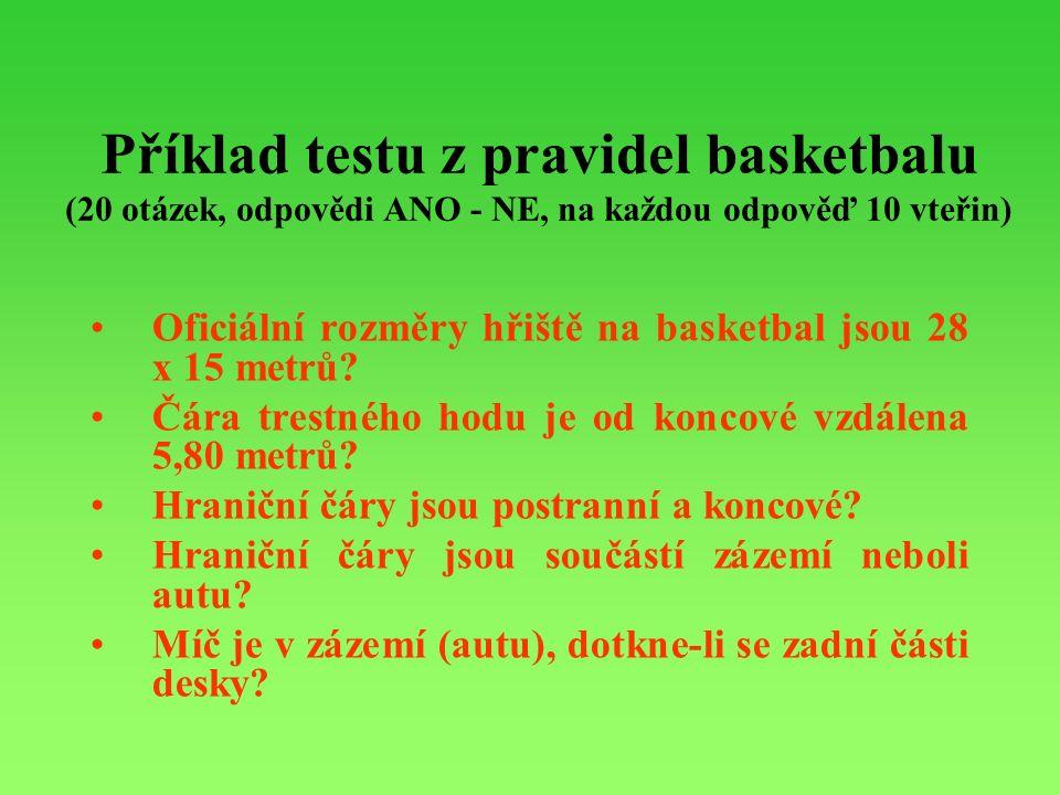 Příklad testu z pravidel basketbalu (20 otázek, odpovědi ANO - NE, na každou odpověď 10 vteřin) Oficiální rozměry hřiště na basketbal jsou 28 x 15 metrů.