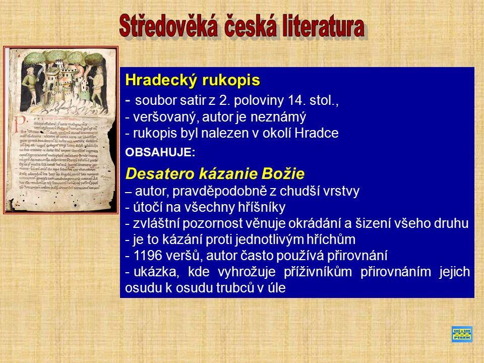 Hradecký rukopis - soubor satir z 2. poloviny 14.