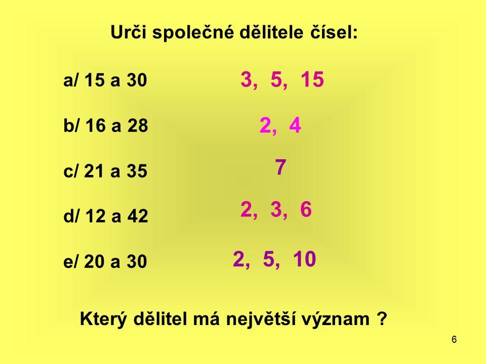 6 Urči společné dělitele čísel: a/ 15 a 30 b/ 16 a 28 c/ 21 a 35 d/ 12 a 42 e/ 20 a 30 Který dělitel má největší význam ? 3, 5, 15 2, 4 7 2, 3, 6 2, 5