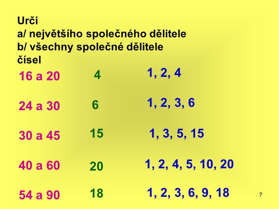 7 Urči a/ největšího společného dělitele b/ všechny společné dělitele čísel 16 a 20 24 a 30 30 a 45 40 a 60 54 a 90 4 1, 2, 4 6 1, 2, 3, 6 151, 3, 5,