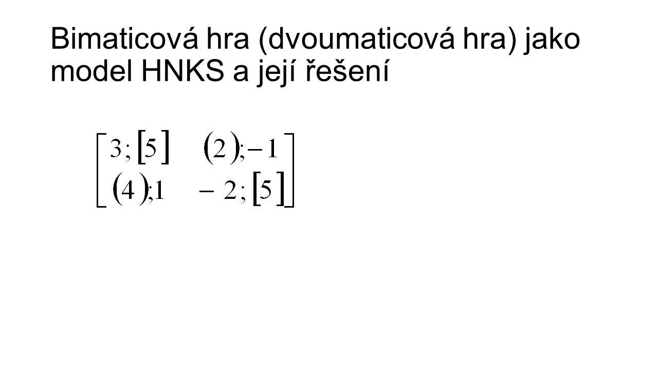 Bimaticová hra (dvoumaticová hra) jako model HNKS a její řešení