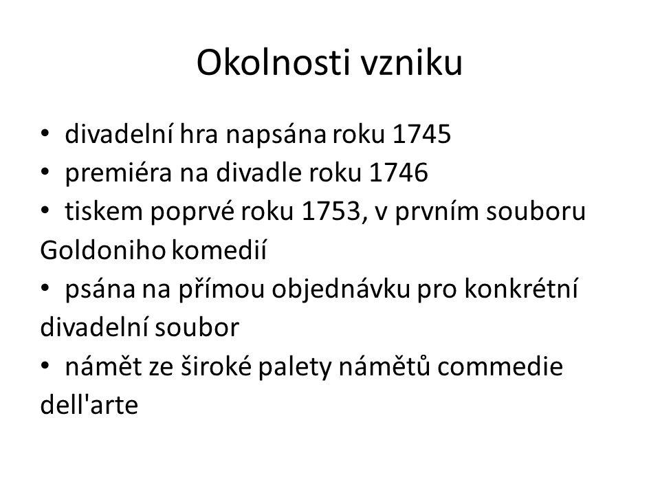 Okolnosti vzniku divadelní hra napsána roku 1745 premiéra na divadle roku 1746 tiskem poprvé roku 1753, v prvním souboru Goldoniho komedií psána na přímou objednávku pro konkrétní divadelní soubor námět ze široké palety námětů commedie dell arte