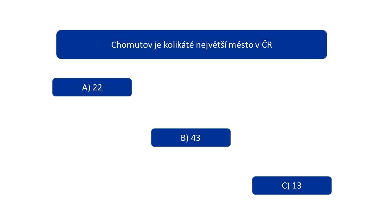 Chomutov je kolikáté největší město v ČR A) 22 B) 43 C) 13