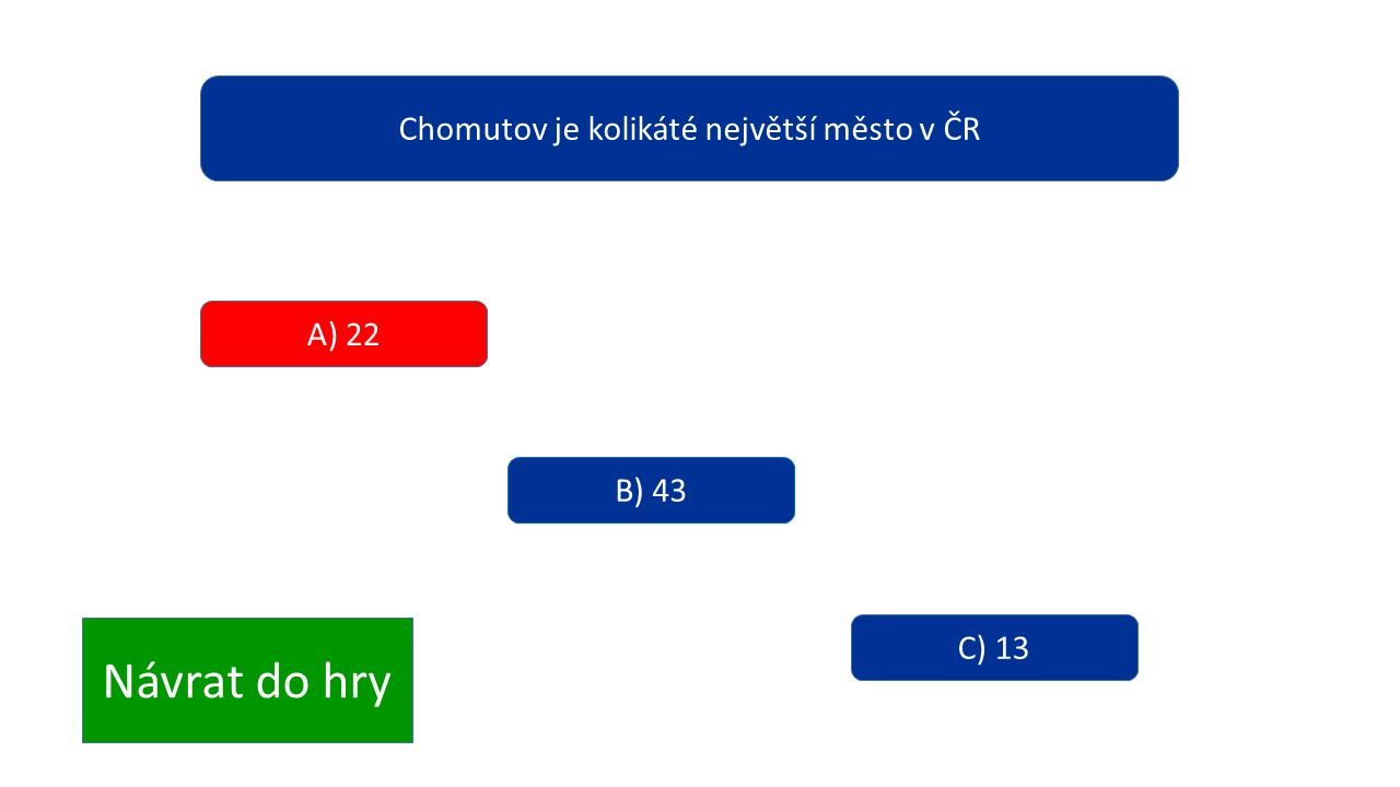 Chomutov je kolikáté největší město v ČR A) 22 B) 43 C) 13 Návrat do hry