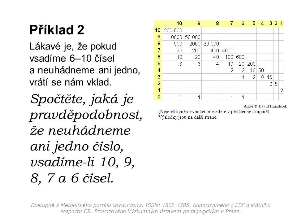 Příklad 2 Lákavé je, že pokud vsadíme 6–10 čísel a neuhádneme ani jedno, vrátí se nám vklad. Spočtěte, jaká je pravděpodobnost, že neuhádneme ani jedn