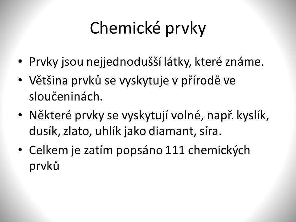 Chemické prvky Prvky jsou nejjednodušší látky, které známe.