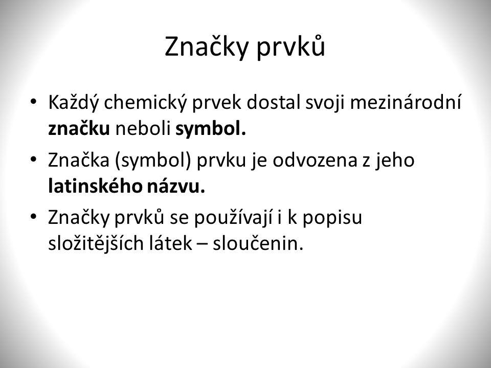 Značky prvků Každý chemický prvek dostal svoji mezinárodní značku neboli symbol.
