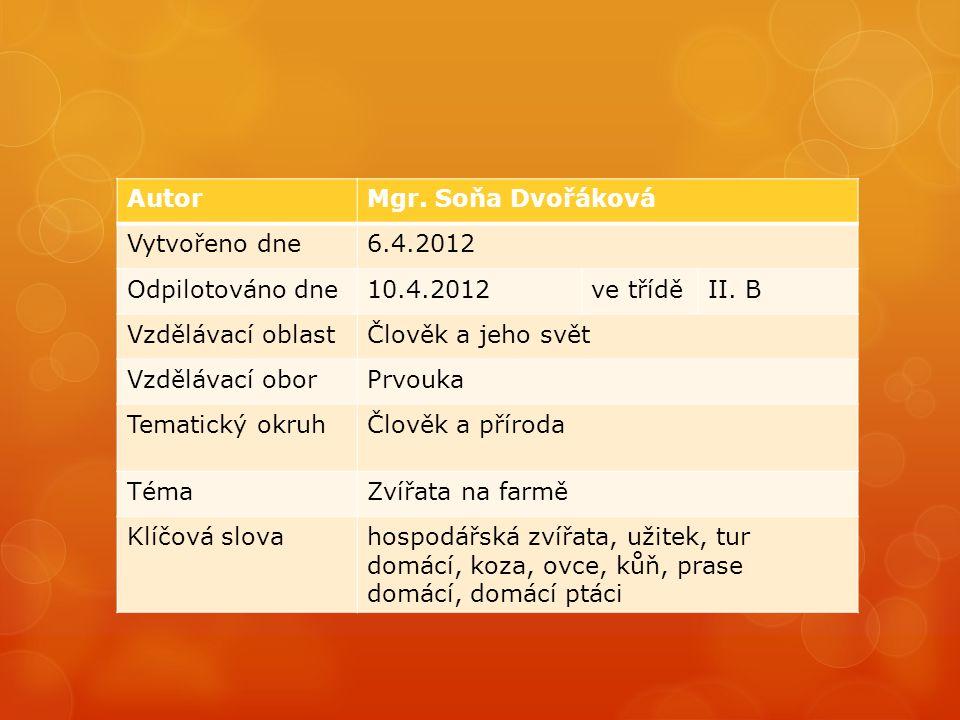 AutorMgr. Soňa Dvořáková Vytvořeno dne6.4.2012 Odpilotováno dne10.4.2012ve tříděII.