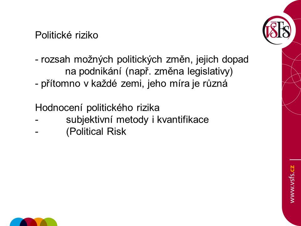 Politické riziko - rozsah možných politických změn, jejich dopad na podnikání (např. změna legislativy) - přítomno v každé zemi, jeho míra je různá Ho
