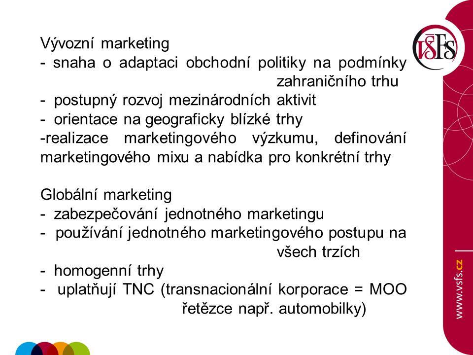 Vývozní marketing - snaha o adaptaci obchodní politiky na podmínky zahraničního trhu - postupný rozvoj mezinárodních aktivit - orientace na geograficky blízké trhy -realizace marketingového výzkumu, definování marketingového mixu a nabídka pro konkrétní trhy Globální marketing - zabezpečování jednotného marketingu - používání jednotného marketingového postupu na všech trzích - homogenní trhy - uplatňují TNC (transnacionální korporace = MOO řetězce např.