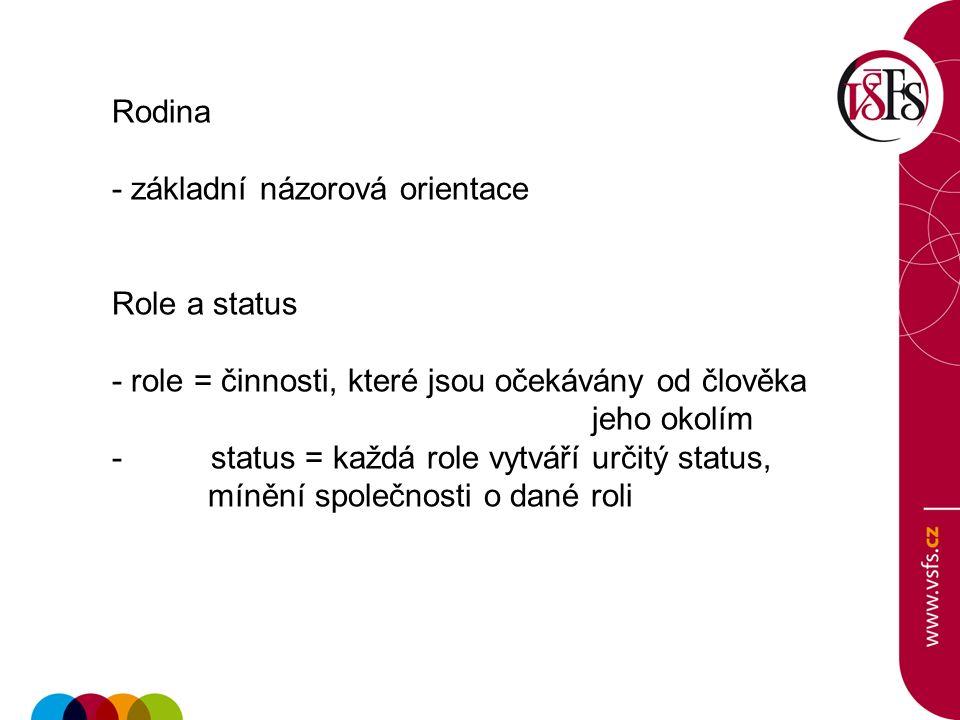 Rodina - základní názorová orientace Role a status - role = činnosti, které jsou očekávány od člověka jeho okolím - status = každá role vytváří určitý status, mínění společnosti o dané roli