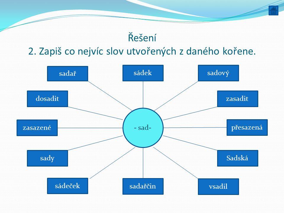 Řešení 2.Zapiš co nejvíc slov utvořených z daného kořene.