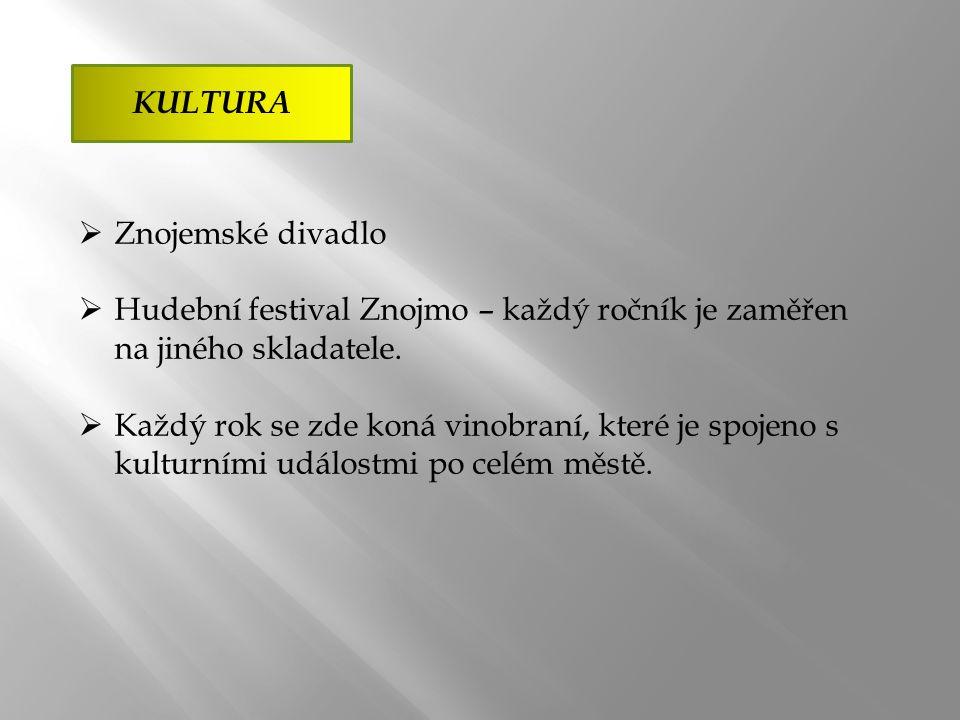 KULTURA  Znojemské divadlo  Hudební festival Znojmo – každý ročník je zaměřen na jiného skladatele.