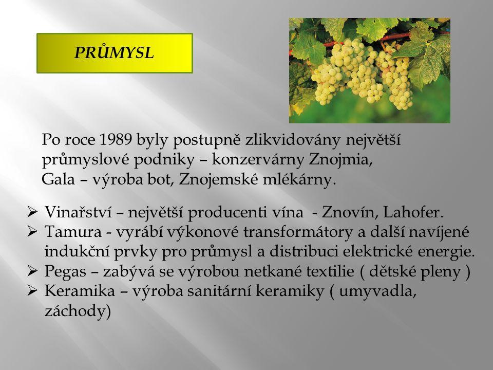 PRŮMYSL  Vinařství – největší producenti vína - Znovín, Lahofer.