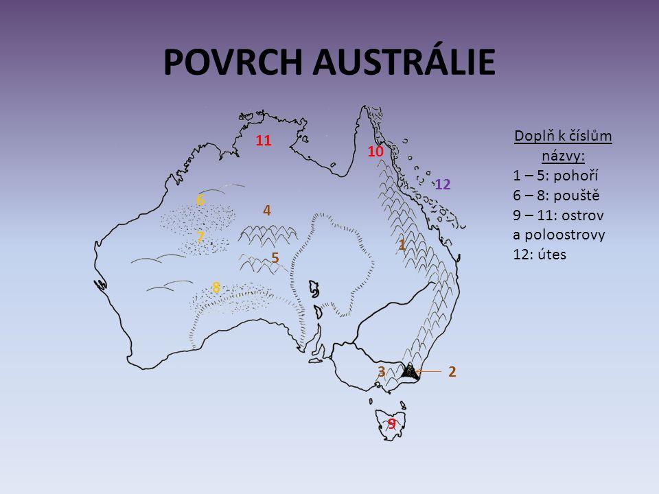 POVRCH AUSTRÁLIE 1 2 Doplň k číslům názvy: 1 – 5: pohoří 6 – 8: pouště 9 – 11: ostrov a poloostrovy 12: útes 3 4 5 6 7 8 9 10 11 12