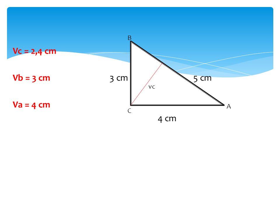 Vc = 2,4 cm Vb = 3 cm 3 cm 5 cm Va = 4 cm 4 cm vc C A B