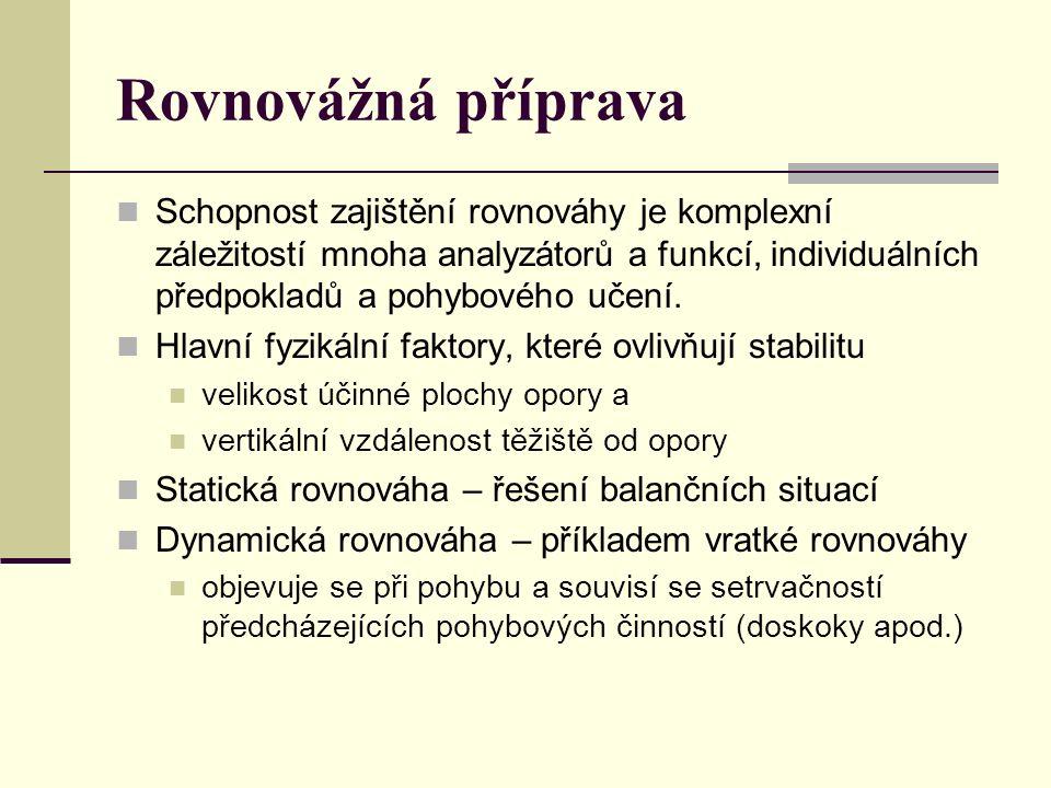 Rovnovážná příprava Schopnost zajištění rovnováhy je komplexní záležitostí mnoha analyzátorů a funkcí, individuálních předpokladů a pohybového učení.