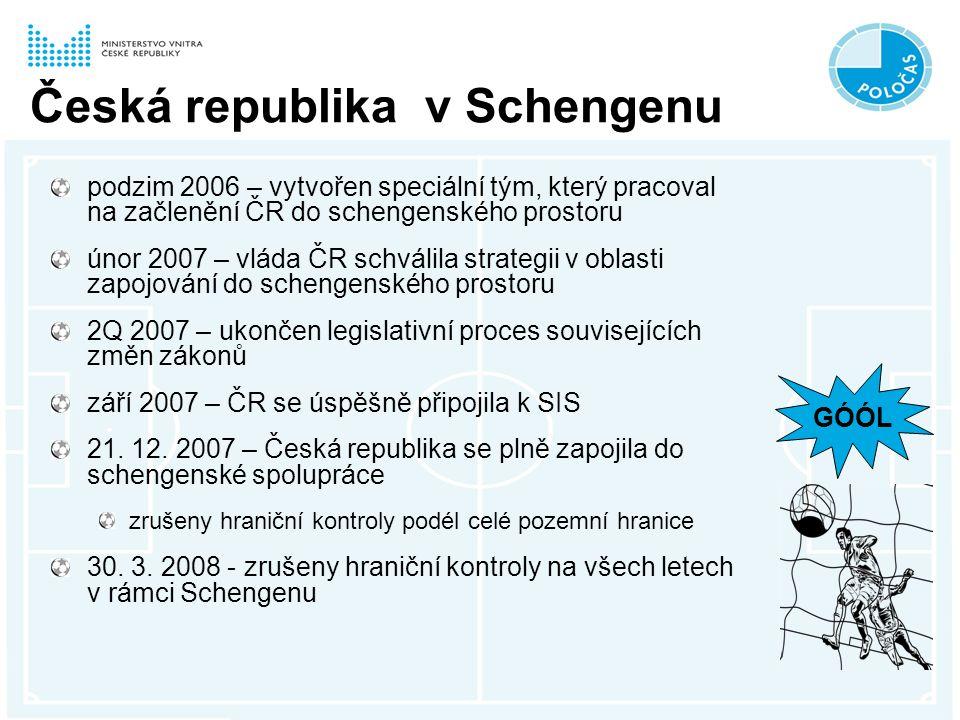 Česká republika v Schengenu podzim 2006 – vytvořen speciální tým, který pracoval na začlenění ČR do schengenského prostoru únor 2007 – vláda ČR schválila strategii v oblasti zapojování do schengenského prostoru 2Q 2007 – ukončen legislativní proces souvisejících změn zákonů září 2007 – ČR se úspěšně připojila k SIS 21.