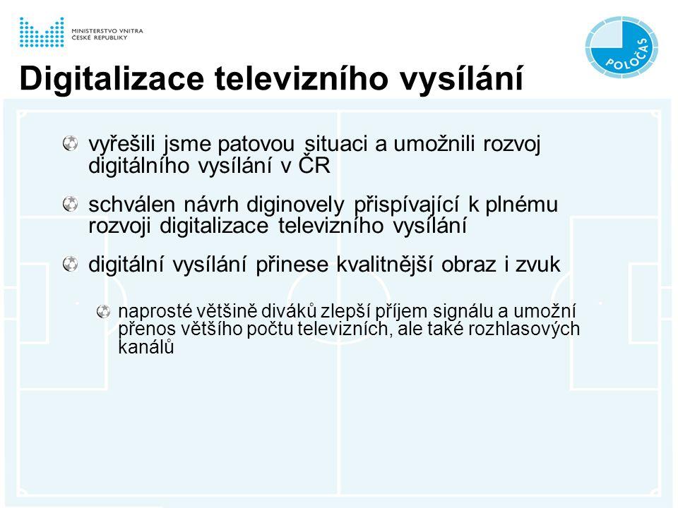 Digitalizace televizního vysílání vyřešili jsme patovou situaci a umožnili rozvoj digitálního vysílání v ČR schválen návrh diginovely přispívající k plnému rozvoji digitalizace televizního vysílání digitální vysílání přinese kvalitnější obraz i zvuk naprosté většině diváků zlepší příjem signálu a umožní přenos většího počtu televizních, ale také rozhlasových kanálů