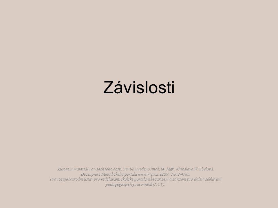 Závislosti Autorem materiálu a všech jeho částí, není-li uvedeno jinak, je Mgr. Miroslava Wrubelová. Dostupné z Metodického portálu www.rvp.cz, ISSN:
