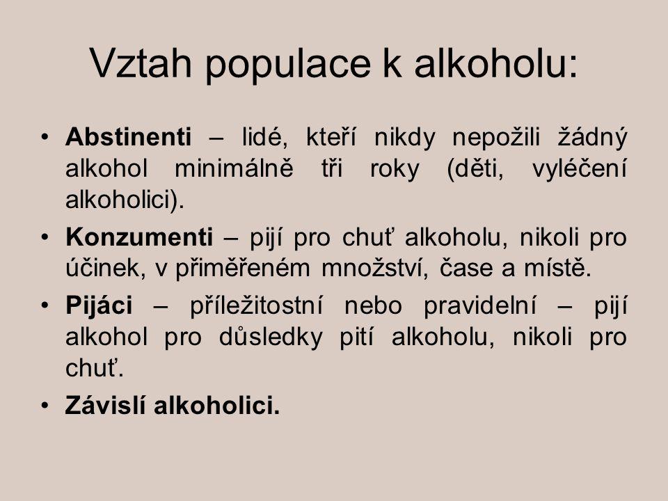 Vztah populace k alkoholu: Abstinenti – lidé, kteří nikdy nepožili žádný alkohol minimálně tři roky (děti, vyléčení alkoholici). Konzumenti – pijí pro