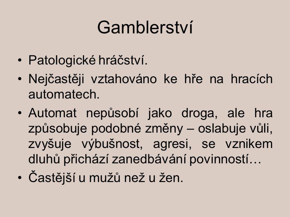 Gamblerství Patologické hráčství.Nejčastěji vztahováno ke hře na hracích automatech.
