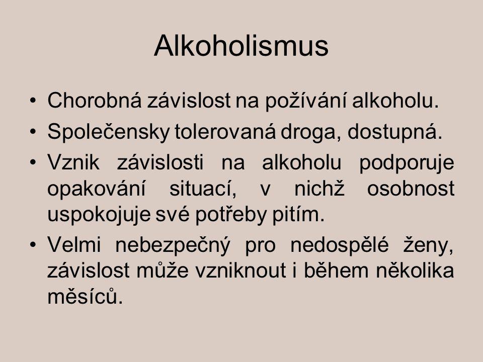 Alkoholismus Chorobná závislost na požívání alkoholu. Společensky tolerovaná droga, dostupná. Vznik závislosti na alkoholu podporuje opakování situací