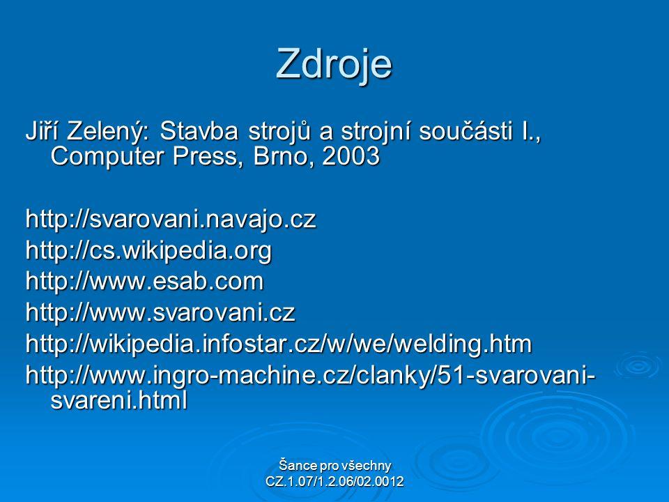 Šance pro všechny CZ.1.07/1.2.06/02.0012 Zdroje Jiří Zelený: Stavba strojů a strojní součásti I., Computer Press, Brno, 2003 http://svarovani.navajo.czhttp://cs.wikipedia.orghttp://www.esab.comhttp://www.svarovani.czhttp://wikipedia.infostar.cz/w/we/welding.htm http://www.ingro-machine.cz/clanky/51-svarovani- svareni.html
