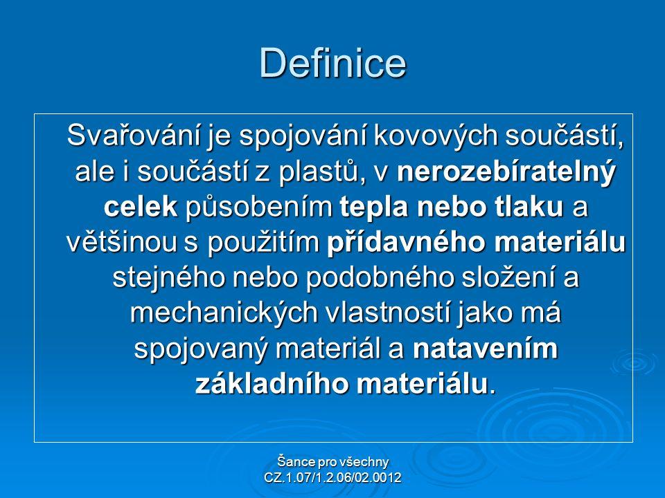 Šance pro všechny CZ.1.07/1.2.06/02.0012 Definice Svařování je spojování kovových součástí, ale i součástí z plastů, v nerozebíratelný celek působením tepla nebo tlaku a většinou s použitím přídavného materiálu stejného nebo podobného složení a mechanických vlastností jako má spojovaný materiál a natavením základního materiálu.