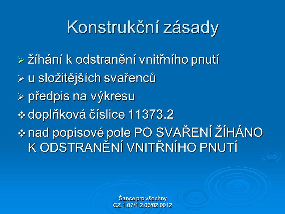 Šance pro všechny CZ.1.07/1.2.06/02.0012 Konstrukční zásady  žíhání k odstranění vnitřního pnutí  u složitějších svařenců  předpis na výkresu  doplňková číslice 11373.2  nad popisové pole PO SVAŘENÍ ŽÍHÁNO K ODSTRANĚNÍ VNITŘNÍHO PNUTÍ
