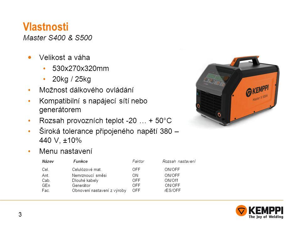  Velikost a váha 530x270x320mm 20kg / 25kg Možnost dálkového ovládání Kompatibilní s napájecí sítí nebo generátorem Rozsah provozních teplot -20 … + 50°C Široká tolerance připojeného napětí 380 – 440 V, ±10% Menu nastavení 3 Název Funkce Faktor Rozsah nastavení Cel.