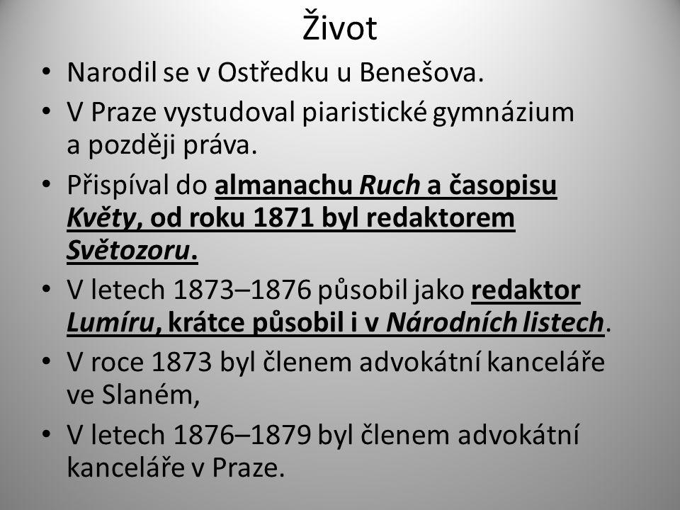 Život Je po něm pojmenován Čechův most v Praze.Sady s jeho sochou na pražských Vinohradech.