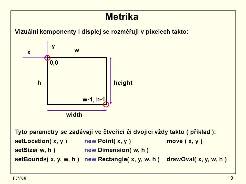 PJV08 10 Metrika Vizuální komponenty i displej se rozměřují v pixelech takto: x y height width 0,0 w h w-1, h-1 Tyto parametry se zadávají ve čtveřici či dvojici vždy takto ( příklad ): setLocation( x, y ) new Point( x, y ) move ( x, y ) setSize( w, h ) new Dimension( w, h ) setBounds( x, y, w, h ) new Rectangle( x, y, w, h ) drawOval( x, y, w, h )