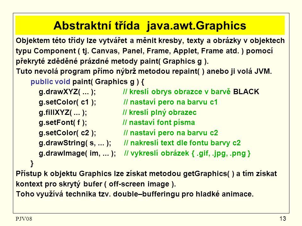 PJV08 13 Abstraktní třída java.awt.Graphics Objektem této třídy lze vytvářet a měnit kresby, texty a obrázky v objektech typu Component ( tj. Canvas,