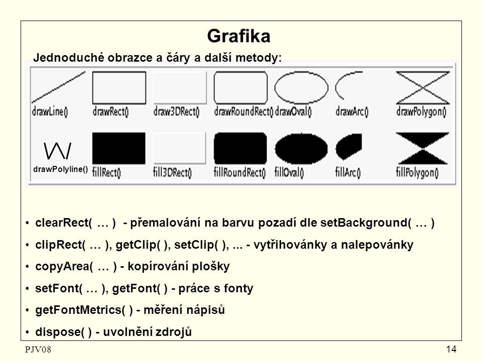 PJV08 14 Grafika Jednoduché obrazce a čáry a další metody: clearRect( … ) - přemalování na barvu pozadí dle setBackground( … ) clipRect( … ), getClip(