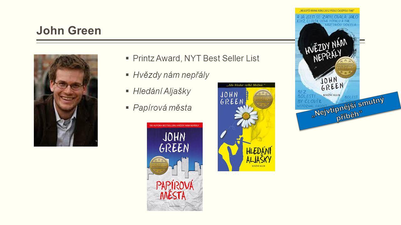 John Green  Printz Award, NYT Best Seller List  Hvězdy nám nepřály  Hledání Aljašky  Papírová města