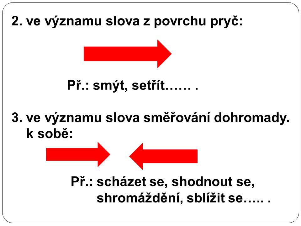 2. ve významu slova z povrchu pryč: Př.: smýt, setřít……. 3. ve významu slova směřování dohromady. k sobě: Př.: scházet se, shodnout se, shromáždění, s