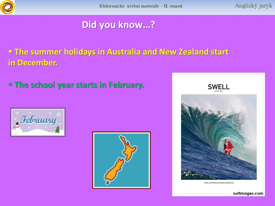 Elektronické učební materiály - II. stupeň Anglický jazyk Did you know…?  The summer holidays in Australia and New Zealand start in December.  The s