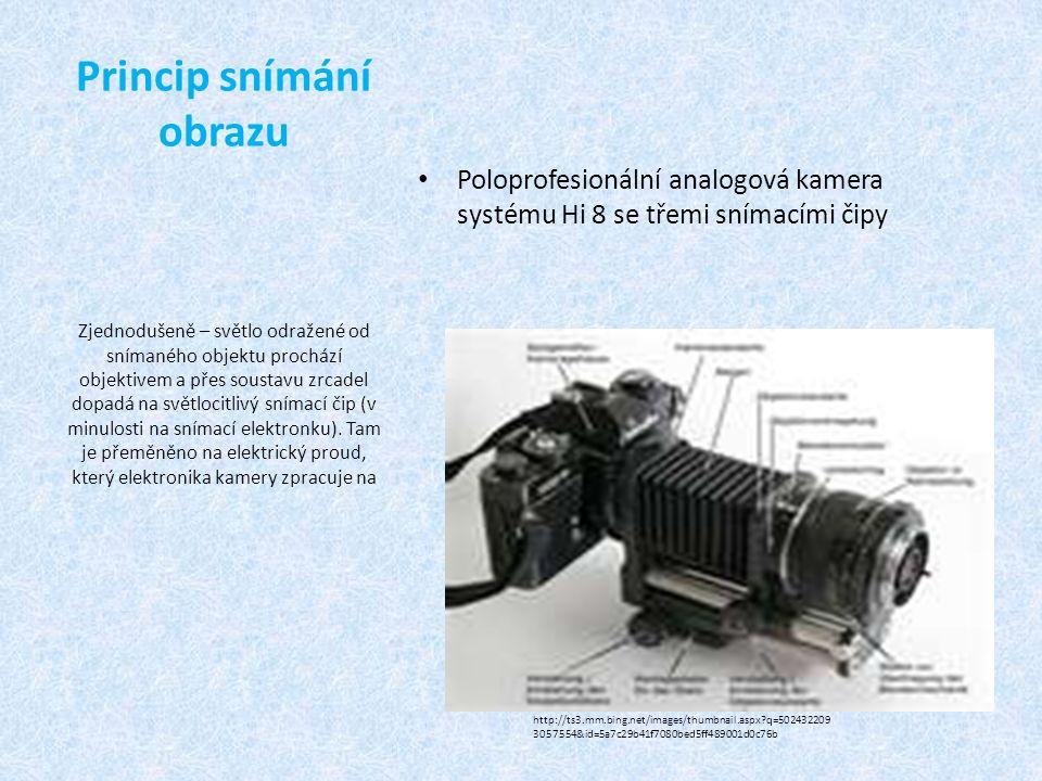 Princip snímání obrazu Poloprofesionální analogová kamera systému Hi 8 se třemi snímacími čipy Zjednodušeně – světlo odražené od snímaného objektu prochází objektivem a přes soustavu zrcadel dopadá na světlocitlivý snímací čip (v minulosti na snímací elektronku).