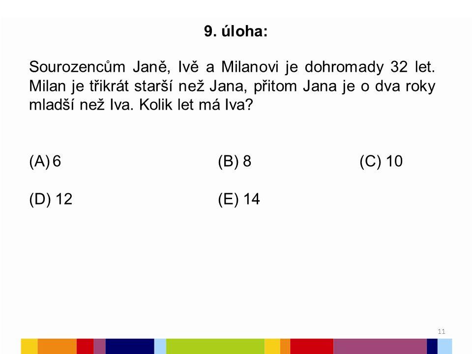 11 9.úloha: Sourozencům Janě, Ivě a Milanovi je dohromady 32 let.