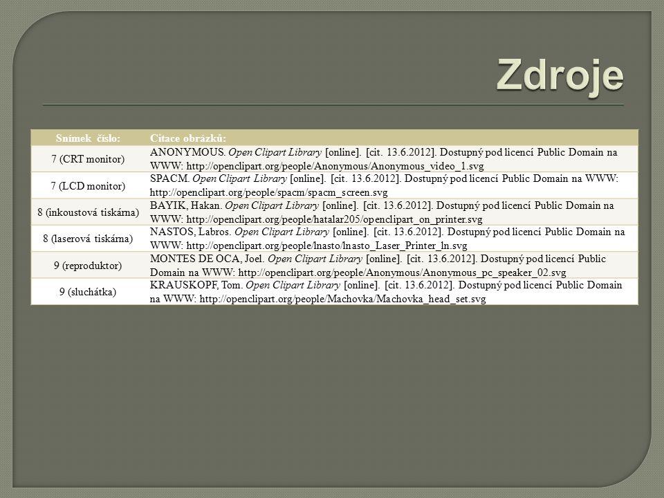 Snímek číslo:Citace obrázků: 7 (CRT monitor) ANONYMOUS.