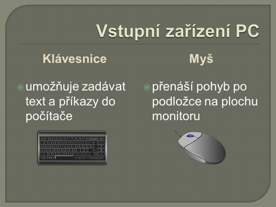 Klávesnice  umožňuje zadávat text a příkazy do počítače Myš  přenáší pohyb po podložce na plochu monitoru
