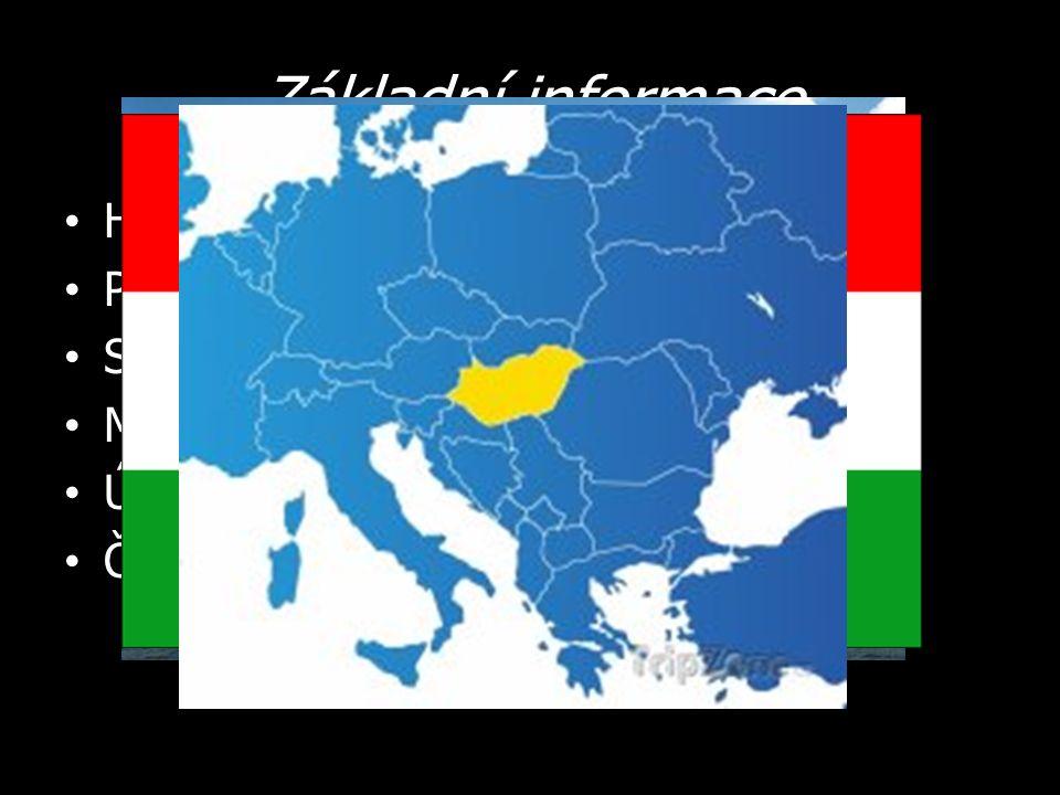 Základní informace Hlavní město – Budapešť Počet obyvatel – 10 milionů Státní zřízení – parlamentní republika Měna – forint Úřední jazyk – maďarština Člen – EU, NATO