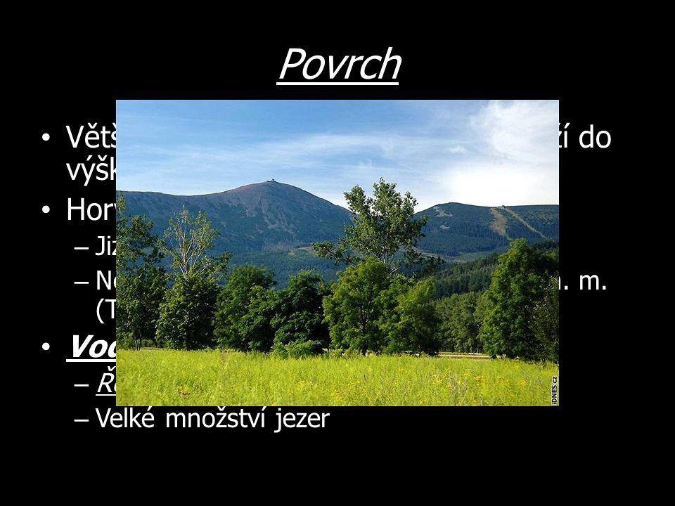 Povrch Většinou nížiny – zhruba ¾ území leží do výšky 200 m n.