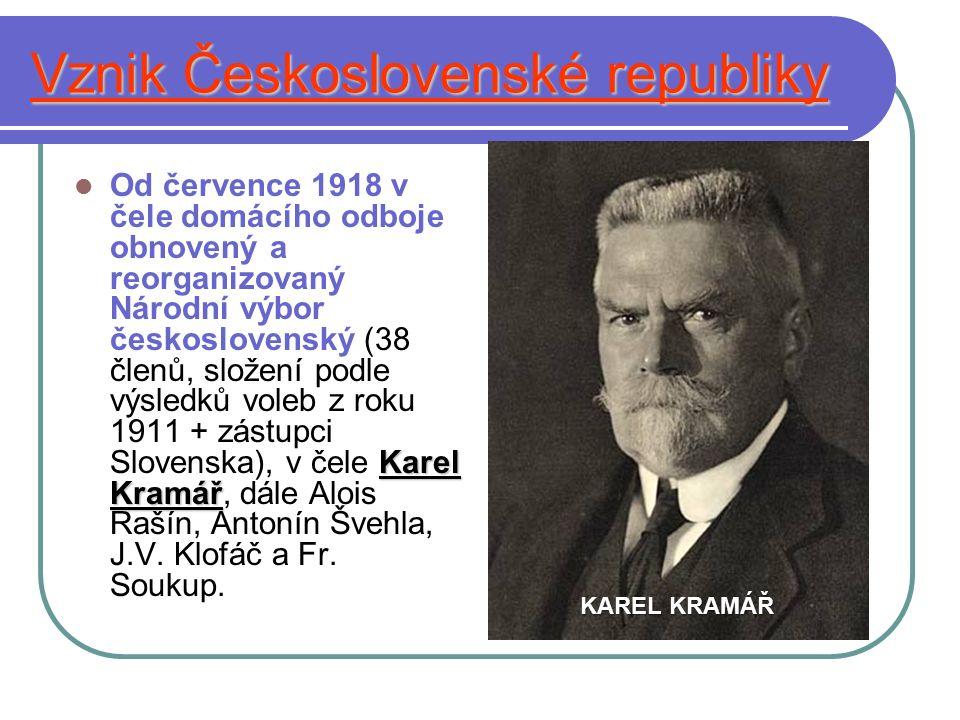 Vznik Československé republiky Karel Kramář Od července 1918 v čele domácího odboje obnovený a reorganizovaný Národní výbor československý (38 členů, složení podle výsledků voleb z roku 1911 + zástupci Slovenska), v čele Karel Kramář, dále Alois Rašín, Antonín Švehla, J.V.