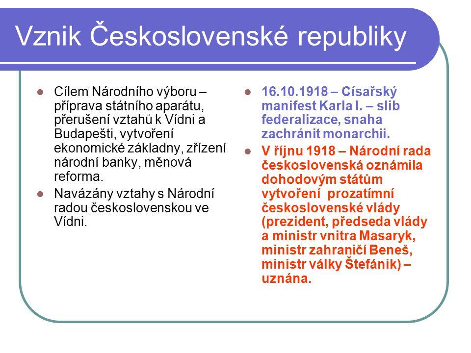 Vznik Československé republiky Cílem Národního výboru – příprava státního aparátu, přerušení vztahů k Vídni a Budapešti, vytvoření ekonomické základny, zřízení národní banky, měnová reforma.