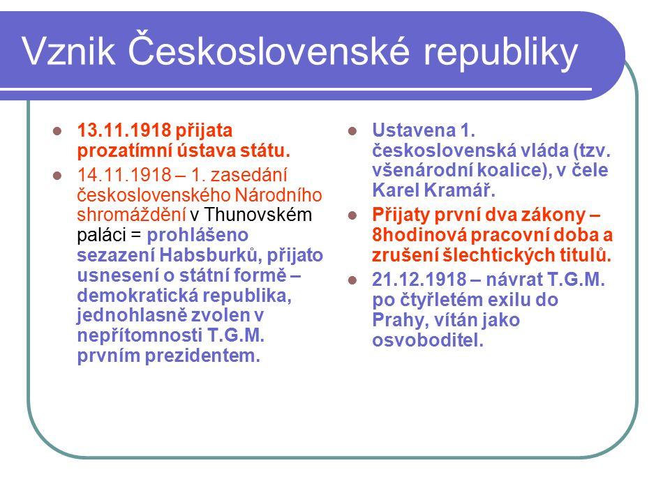 Vznik Československé republiky 13.11.1918 přijata prozatímní ústava státu. 14.11.1918 – 1. zasedání československého Národního shromáždění v Thunovské